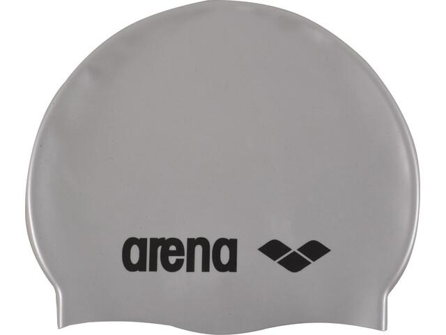 arena Classic Silicone Swimming Cap Juniors silver-black